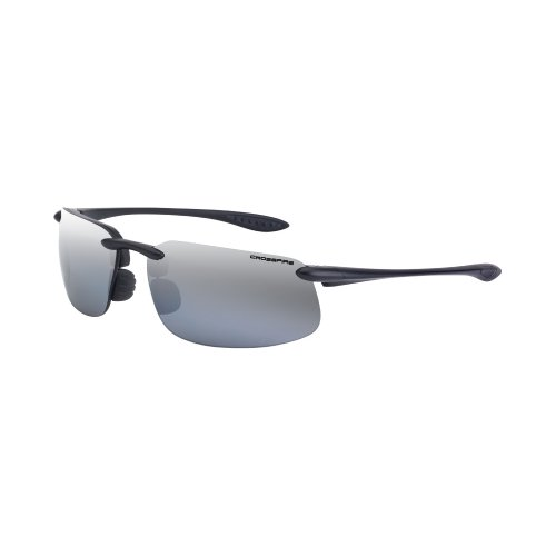 - Crossfire Eyewear 21427 ES4 Polarized Safety Glasses with Silver Mirror Polarized Lens and Black Frame