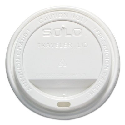 """Traveler Drink-Thru Lid, 12-16oz Hot Cups, White, 300/Pack, 6 Packs/Carton"""