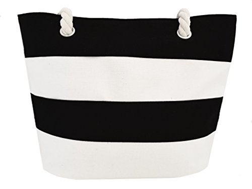 Beach bag / Large Striped / Canvas Beach bag / Tote Bag Multiple colors (black)