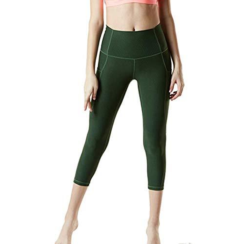 ZEFOTIM Casual Pants for Women's High Waist Hip Fitness Seven Points Yoga Pants Running Pants(Green,Medium)