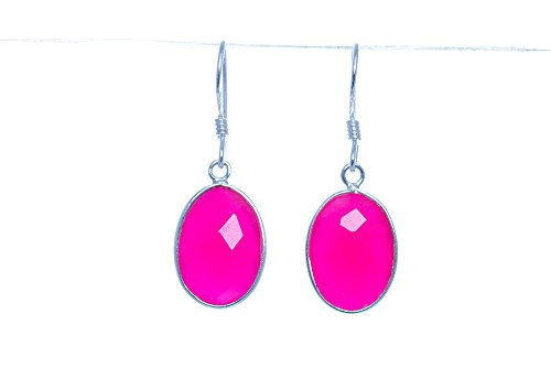 (Sterling Silver Faceted Pink Chalcedony Earrings Jewelry Wedding Bridesmaid Gift For Her)