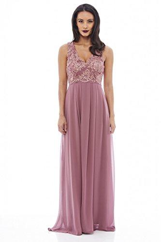 (AX Paris Women's Lace Top Maxi Mauve Dress(Pink, Size:6))