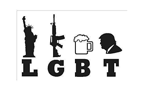 SKYNDI Trump LGBT - Liberty Guns Beer Trump - Car Window Vinyl Decal in White 7