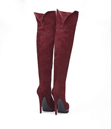 Hauts Femmes Suede À Cuissardes Aiguille Delilah Chaussures Bottes Talons Pour Bordeaux Poilei xYwCS6q6