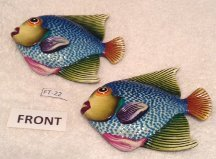 Two Ceramic Pottery Talavera Inspired Wall Hanging Fish Home Decor- Sku#FT-22