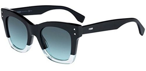 New Fendi COLOR BLOCK FF 0237/S 7ZJ/EQ Black transparent Green/Green - Sunglasses And Steals Deals