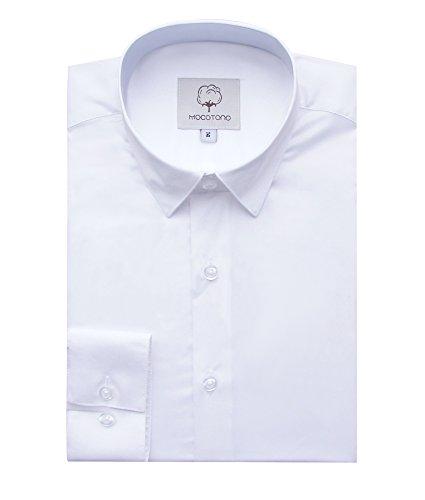(MOCOTONO Men's Non Iron Formal Business Tuxedo Dress Shirt White M 15