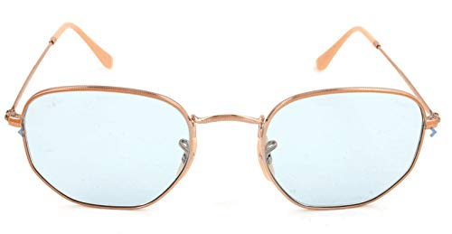 Ray-Ban RB3548N Hexagonal Evolve Photochromic Flat Lenses Sunglasses, Copper/Light Blue Photochromic, 51 mm ()