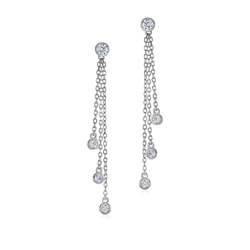 MASSETE Sterling Silver 925 Triple Strand Long Drop Post Earrings with Bezel Set Simulated Diamonds
