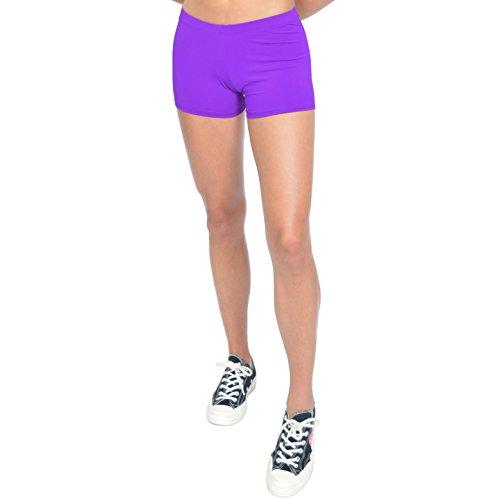 Stretch is Comfort Women's NYLON SPANDEX Stretch Booty Shorts Purple X-Large -