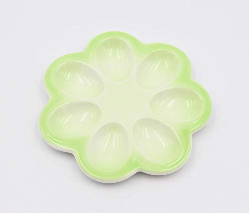 Cosmos Gifts 20791 Small Green Deviled Egg Plate 6 7/8