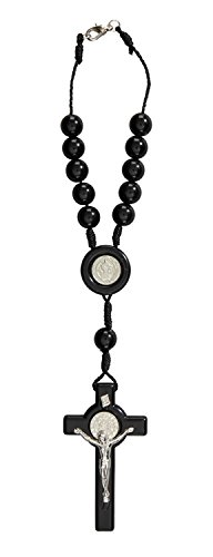 Catholic Saint St. Benedict Medal Black Auto Car Rosary. Acrylic Size: 10 Mm Bead, 8 1?2 L, 2 1?2 wall cross Crucifix 8 1?2 L Holy Land Mall