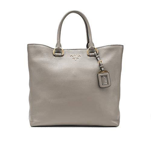 Prada Vitello Phenix Leather Large Tote Handbag Grey