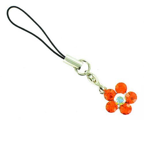 Body Bling Orange on Silver Plated Flower Power Mobile Phone Charm ()