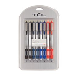 TUL Retractable Gel Pens, Bullet Point, 0.7 mm, Gray Barrel, Assorted Standard Ink Colors, Pack Of 8