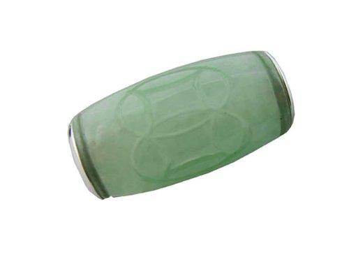 Light Green Jade Large Carved Barrel Pendant, 925 Sterling Silver