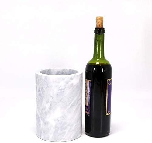 Kota Japan White Marble Stone Wine Champagne Bottle Chiller Cooler Works Great as Elegant Utensil Holder 7 X 5