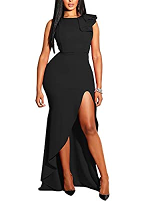 MIZOCI Womens Sexy Ruffles Sleeveless Side Split Evening Gown Bodycon Maxi Party Dress