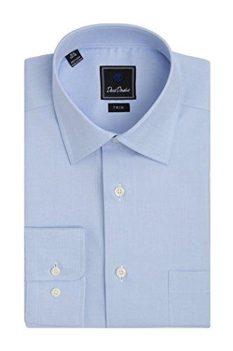 David Donahue Men's Super Fine Twill Trim Fit Dress Shirt 17 - 36/37 Blue by David Donahue (Image #1)