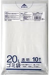(まとめ) クラフトマン 業務用透明 メタロセン配合厚手ゴミ袋 20L HK-024 1パック(10枚) 【×50セット】