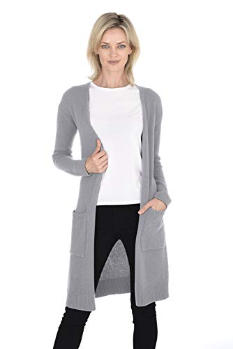Cashmeren Women's 100% Pure Cashmere Classic Knit Soft Open Front Long Cardigan (Heather Grey, Small) (Cashmere Cardigan Easy Long)