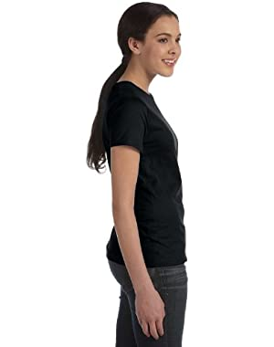 Hanes Silver Ladies' Classic Fit Ringspun Cotton Jersey Tee in Black - X-Large