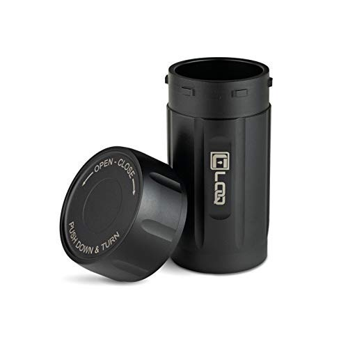 (Canniloq - 120cc Onyx Black - Aircraft Grade Aluminum Odor Smell Proof Container and Airtight Locking Stash Jar for Herbs, Coffee, Spices, Tea and Other Dry Goods)