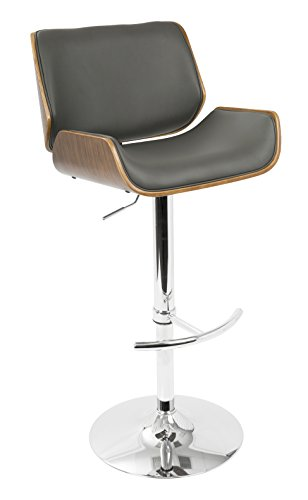 Y Pu Leather, Bent Wood, Chrome Santi Barstool (Contour Upholstered Stools)