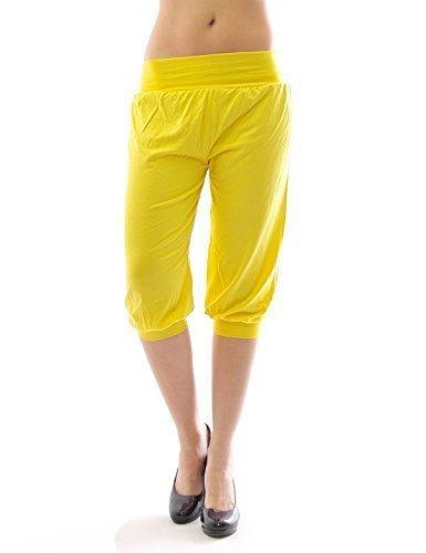 Harem Harems Aladin Pantalon POMPE CAPRI 3/4 haute couleur Leggings Baggy été - Jaune, M