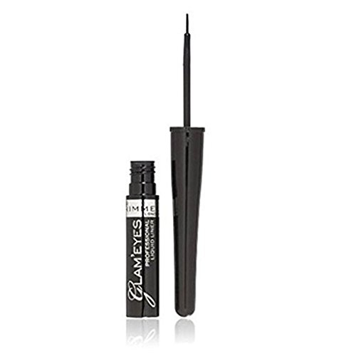 Rimmel Glam'Eyes Precise Design Liquid Eyeliner, Black Glamour [001] 0.12 oz (Pack of 2)