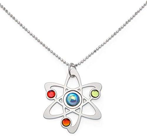 Ciencia símbolo pendientes de collar de cadena de plata y chapado ...
