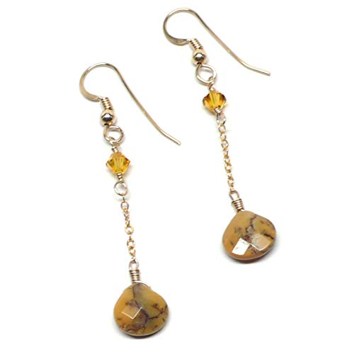 Yellow Moss Agate Briolette Earrings Chain Dangle Gold-Filled (Agate Yellow Moss)