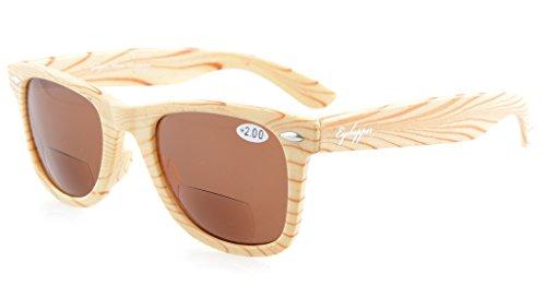 Eyekepper Beige Stripe Bamboo Wood Design Classic Bifocal Sunshine Readers Bifocal Sunglasses +1.25