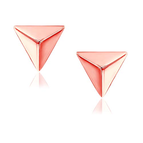 (River Island Rose Gold Flashed Sterling Silver Mini Triangle Shape Stud Earrings)