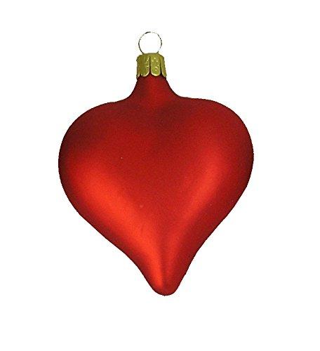 Medium Blown Glass Heart Ornament - Matte Red - Case of (Red Glass Heart Ornaments)