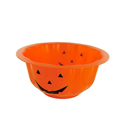 Orange Plastic Pumpkin Candy Bowl, Medium