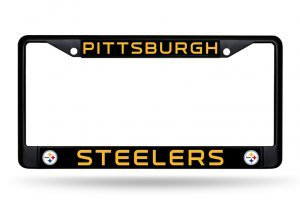 Rico Industries NFL Pittsburgh Steelers Standard Black Chrome License Plate Frame]()