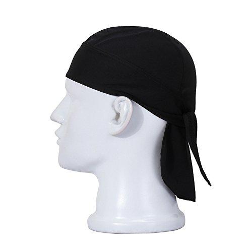 ECLEAR Outdoor Sports Double Dry Dew Doo Rag Black Headwrap Skull Cap Hat Motorcycling Trekking Riding Hiking Traveling for Men (Headwrap Du Rag)