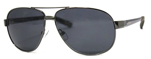 Timberland Fashion Sunglasses, Gunmetal/Gray, Eye: 59/Bridge: 16/Arm: 126 - Metal Logo Aviator Sunglasses