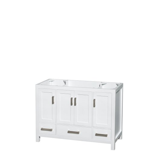 Wyndham Collection Sheffield 48 inch Single Bathroom Vanity in White, No Countertop, No Sink, and No Mirror 48 Transitional Bathroom Vanity