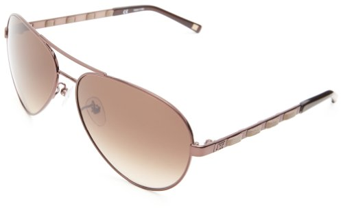 Escada Sunglasses SES804-K01 Aviator Sunglasses,Brown & Beige Leather,60 mm Escada Leather