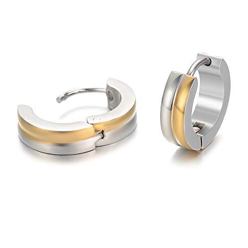 Yves Renaud Elegant Medium Two Tone Round Huggie Hoop Earrings - Nickel Free Hypoallergenic Fashion Jewelry for Men, Women, Girls
