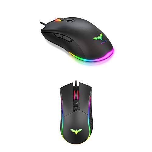 Havit RGB Gaming Mouse Wired Programmable Ergonomic 4800 Dots Per Inch and Up to 6400 D P I Computer USB Mouses for Desktop Laptop Gamer & Work