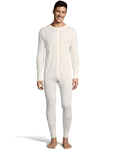Hanes Mens Waffle Knit Thermal Union Suit, 4XL, Natural