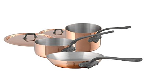 Mauviel MHeritage M150C 6450.01-5 Piece Copper Cookware Set with Cast Stainless Steel Iron Eletroplated Handle Set includes 1.9Qt Sauce Pan w/Lid; 3.5Qt Saute Pan w/Lid and 10.2 inch Fry Pan