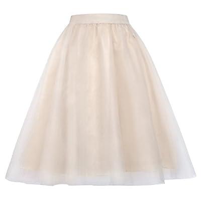 Kate Kasin Lady's Princess Pleated A-Line Midi Elastic Waist Tutu Skirts