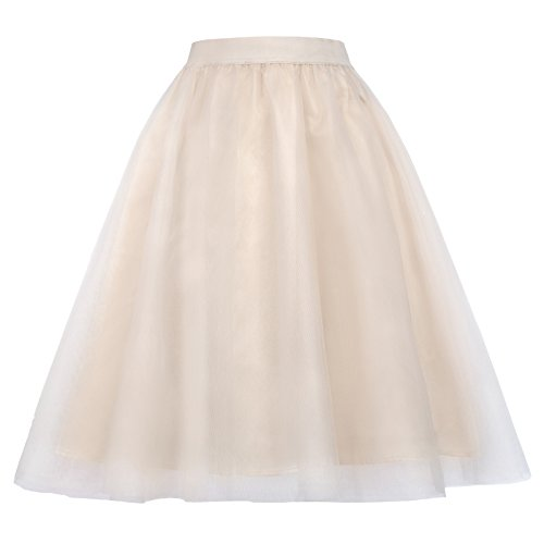 Kate Kasin Women's 50s Tulle Organza Skirt A-Line Wedding Skirt Size S KK658-1 by Kate Kasin