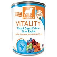 (Dogswell Vitality Duck and Sweet Potato Stew Dog Food - Can, 13 Ounce - 12 per case.)