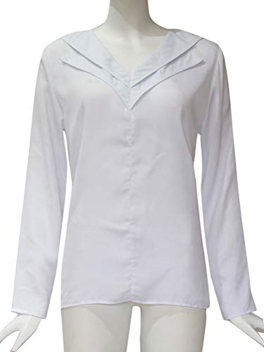 Longue Slim Classique Mode Mousseline V Chic Femme Automne t Casual Tunique Minetom Top Blouse Blanc Fit Col Manche Chemise qw1nq4xOt