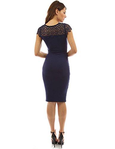 PattyBoutik Mujer Vestido tubo acanalado inserción del cordón del ganchillo mama cuello redondo azul oscuro